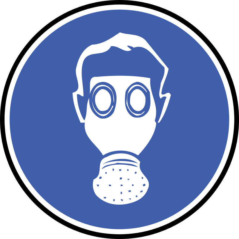 protections - Gas Mask by yves_guillou - A round blue sign telling people to wear a gas mask.