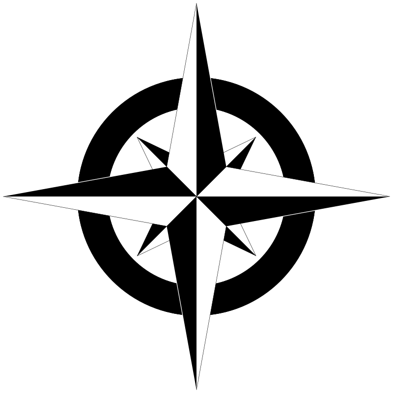 Compass Rose B&W by SeriousTux - Black and white version of compass rose.