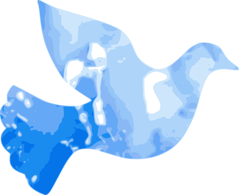 Water Dove by cibo00 - I drew the contours of a dove. The different types of blue have been clipped behind the dove and then vectorized. The various types of blue originated from spots of ink I spread on a transparent sheet and then scanned it as png.