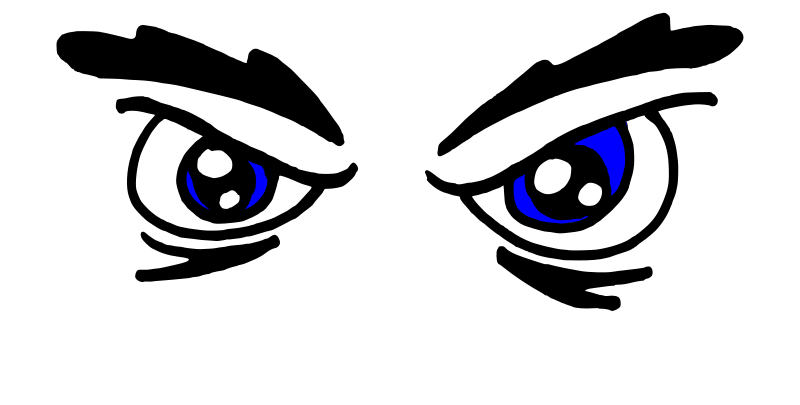 Angry Blue Eyes by Platypuscove - Simple hand drawn eyes, and they are angry...