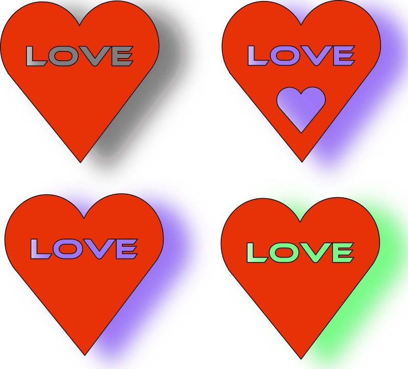 "4 Love Heart´s by mystica - I made 4 hearts with the text ""LOVE"" in them..."