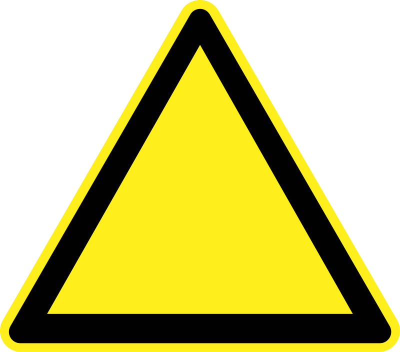 Blank Warning Sign by h0us3s - Blank yellow triangular warning sign.