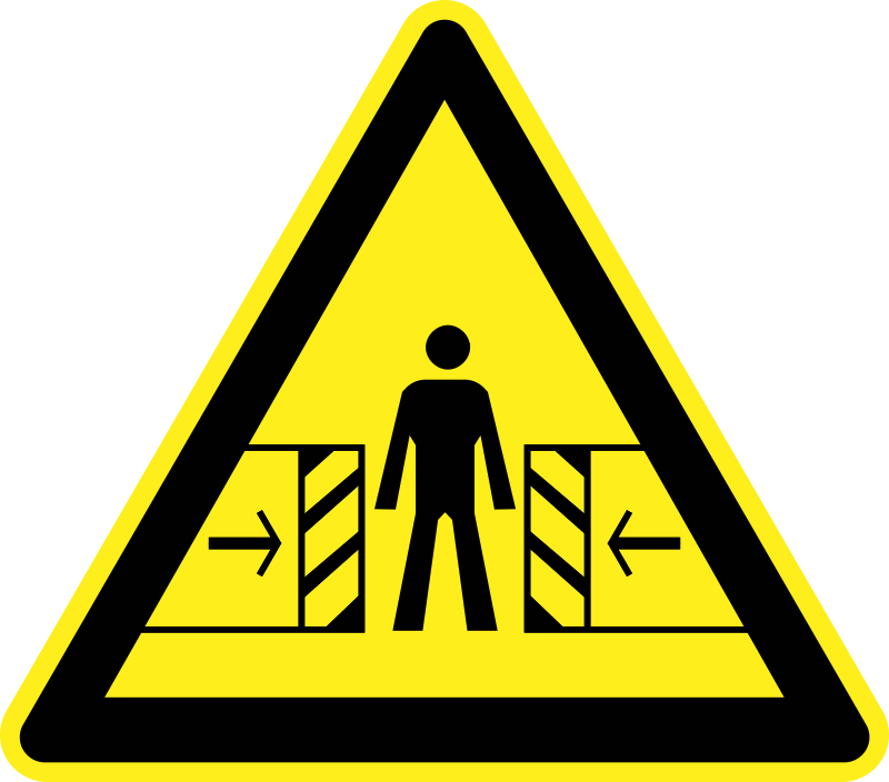 clipart crushing risk warning sign