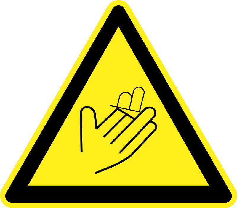 Hand/Finger Loss Warning Sign by h0us3s - Yellow triangular hand/finger loss warning sign.