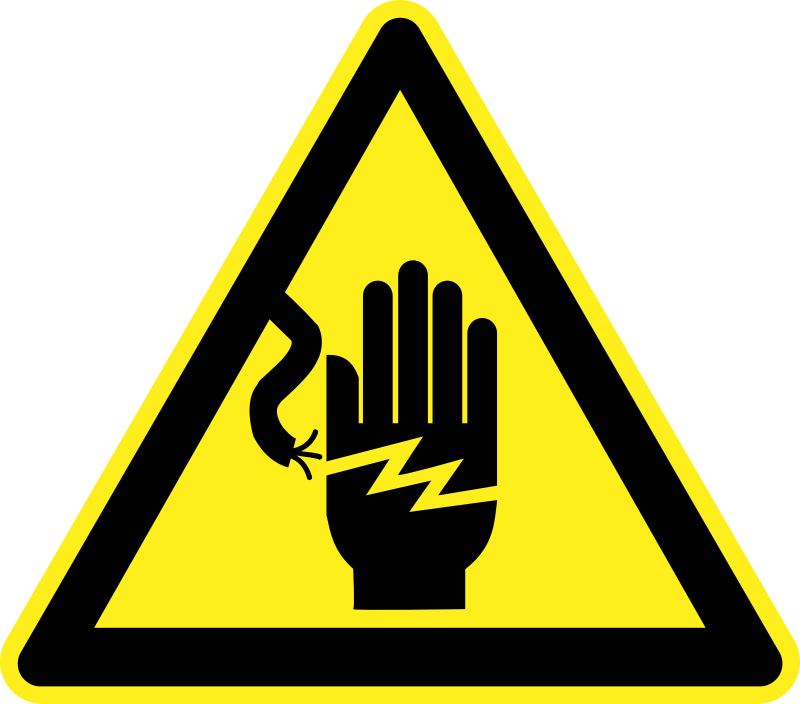 High Voltage Hazard Warning Sign by h0us3s - Yellow triangular high voltage warning sign.