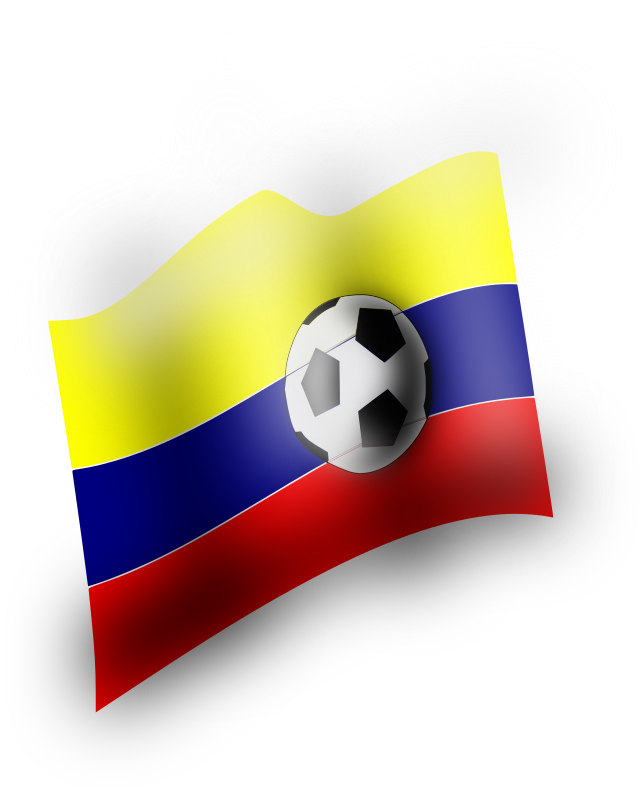 balon by Sebas - A waving Colombian falg with a football on it.