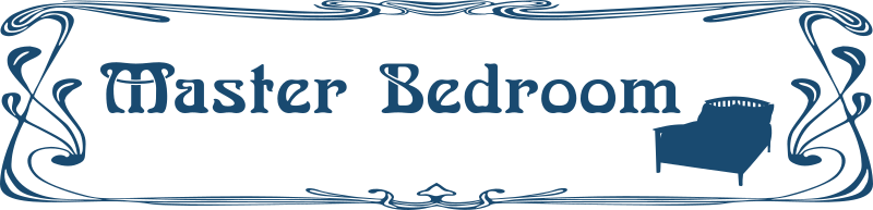 Bedroom door sign by Moini - Door sign for the main bedroom with the silhouette of a double bed in art nouveau style, part of a series.