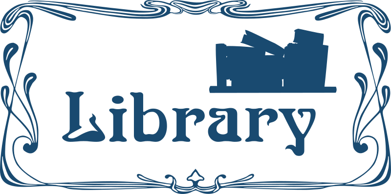 Library door sign by Moini - Door sign for your library with the silhouette of some old books on a shelf in art nouveau style, part of a series.