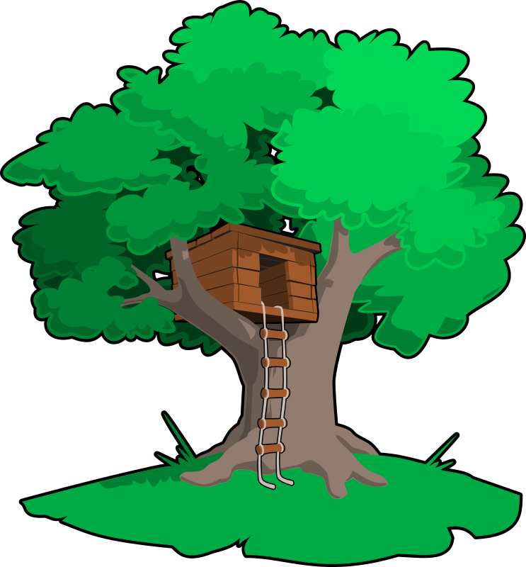 tree house by tzunghaor - A serious treehouse in a unique solid illustration style