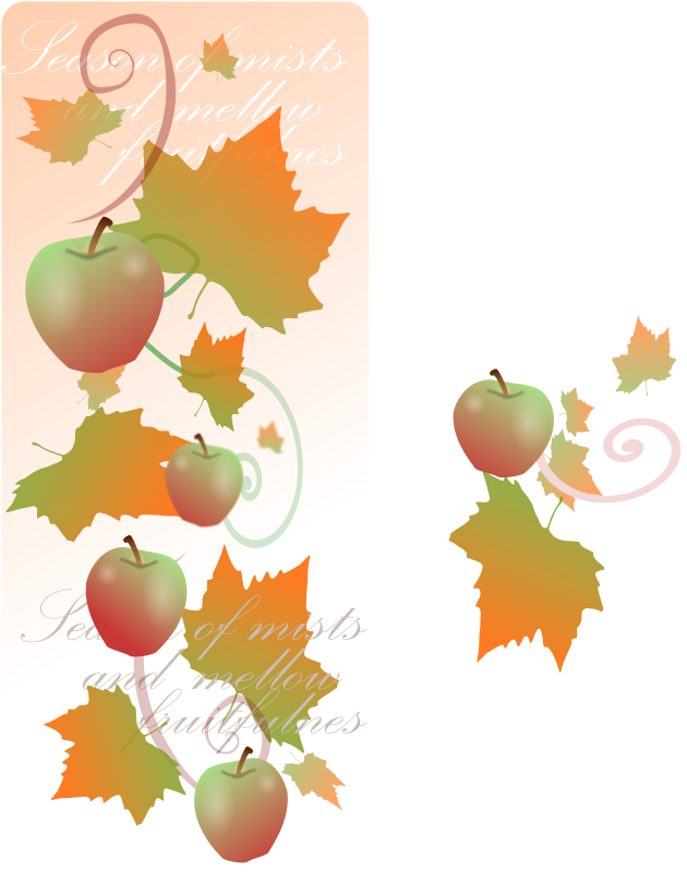 "Autumn Decorations by kattekrab - Created a brochure for an autumn promotion using a tweaked version of nicubunu's apple, and the vectorised scan of a plane tree leaf - added some swirls, a gradient, and the words ""season of mists and mellow fruitfulness""...  this is a small detail of the larger, and was subsequently used on the clients website."