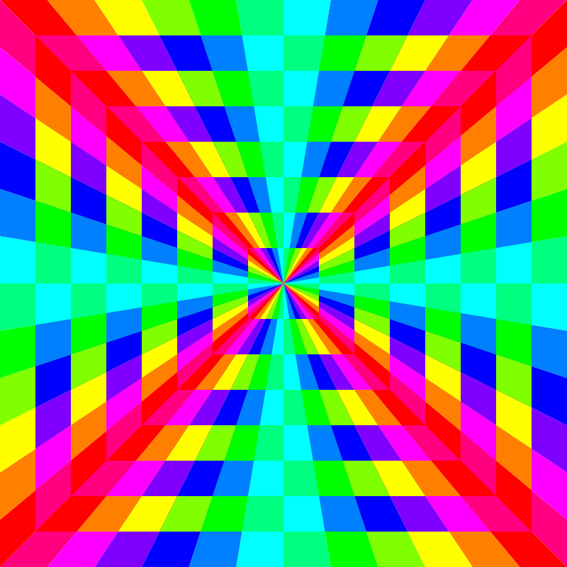 12 color rainbow square tunnel by 10binary - 12 color rainbow square tunnel