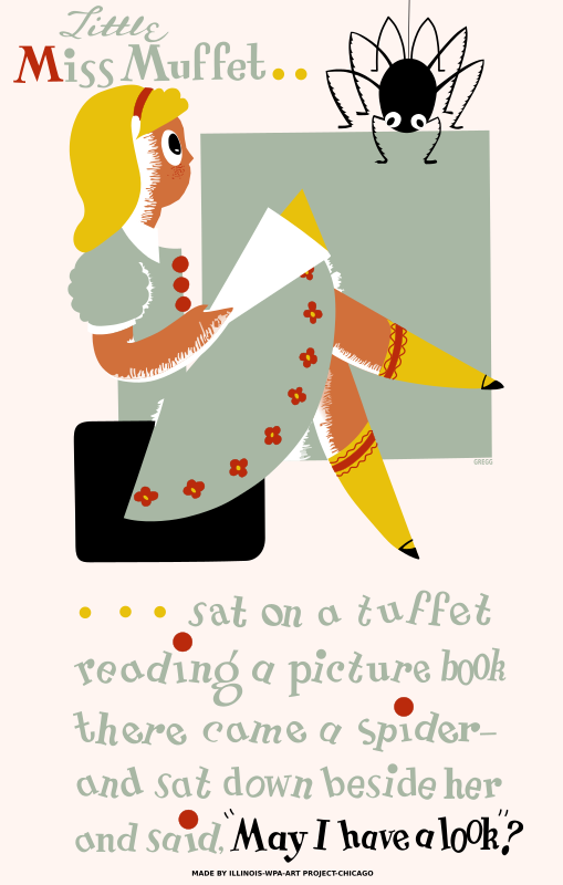 "Little Miss Muffet Poster by SeriousTux - Poster promoting reading among children. ""Little Miss Muffet / Sat on a tuffet / Reading a picture book / There came a spider / And sat down beside her / And said, 'May I have a look?'""