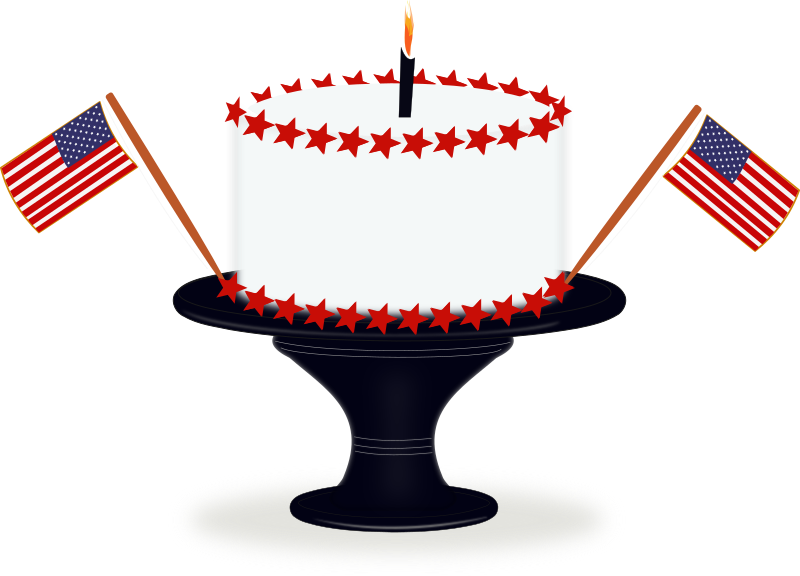 Happy Birthday America by laurianne - Here is an Inkscape illustration of a cake celebrating Independence Day in the U.S.A.