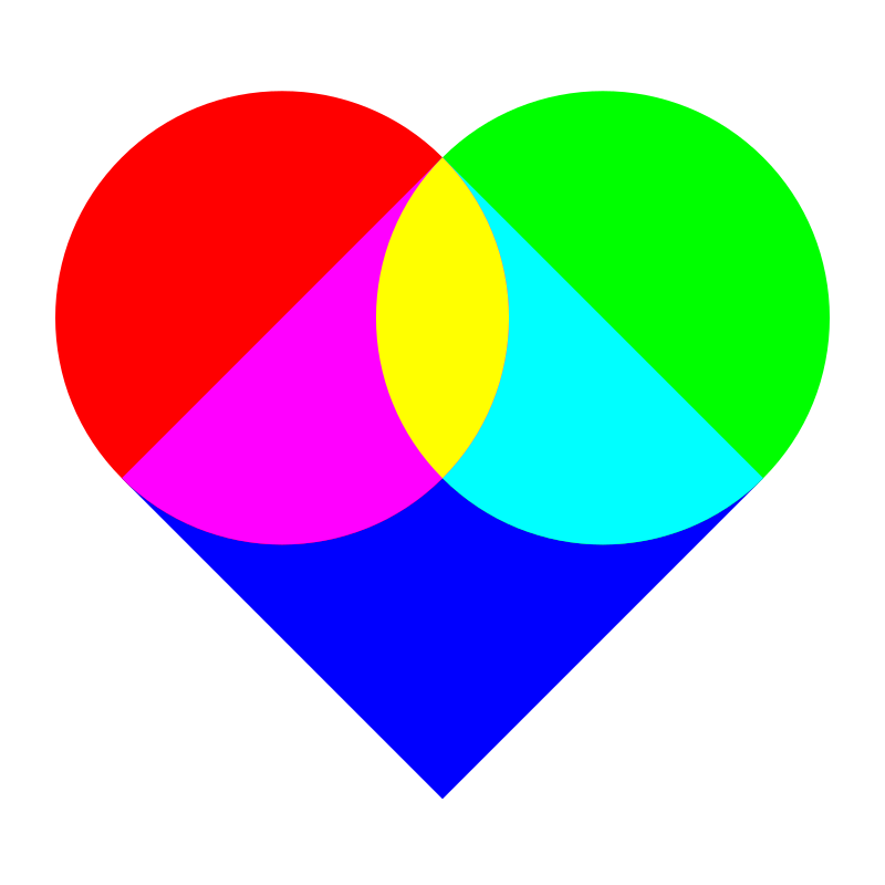 example of heart by 10binary - This was a color mixing thing I did to show how a heart can be made of two circles and a square.