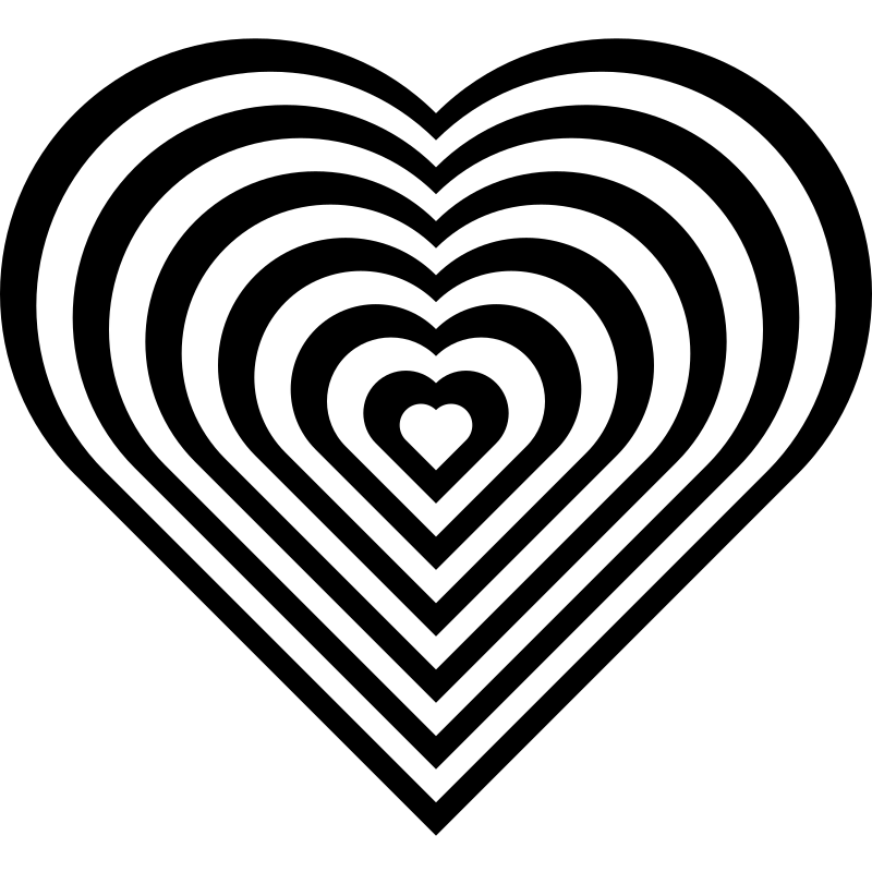 geometric zebra heart by 10binary - This is my favorite of my zebra hearts. I made the heart shape by combining two half circles with a square. Then I scaled and layered hearts alternating between black and white. I used inkscape to make it.  So while it's very geometric, it's also the common symbol of love.  The original zebra heart was a valentines gift for a special girl. It had 8 stripes but wasn't near