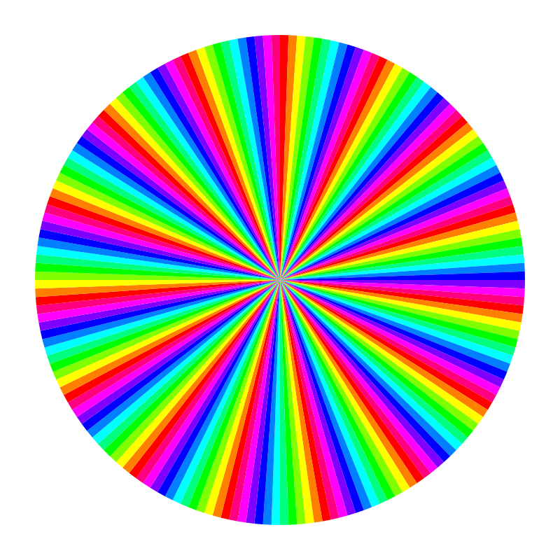 12 color 180gon by 10binary - It's hard to believe how many sides a polygon can have and yet each can be seen when they are color coded like this.
