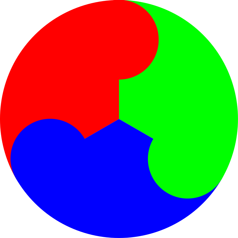 3 color yinyang by 10binary - This is really weird. It's kinda like the rgb version of the yin yang.