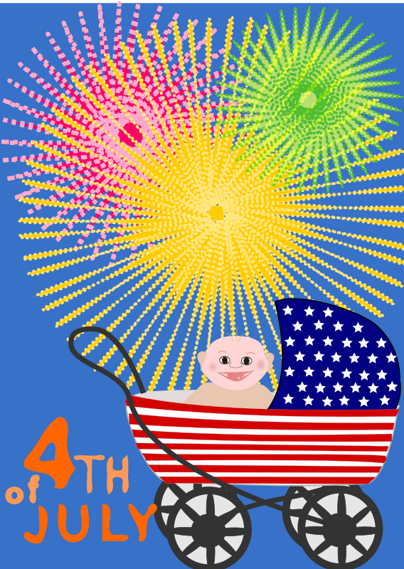 Independence Day by OlKu - Fourth of July with a scary baby in a stroller