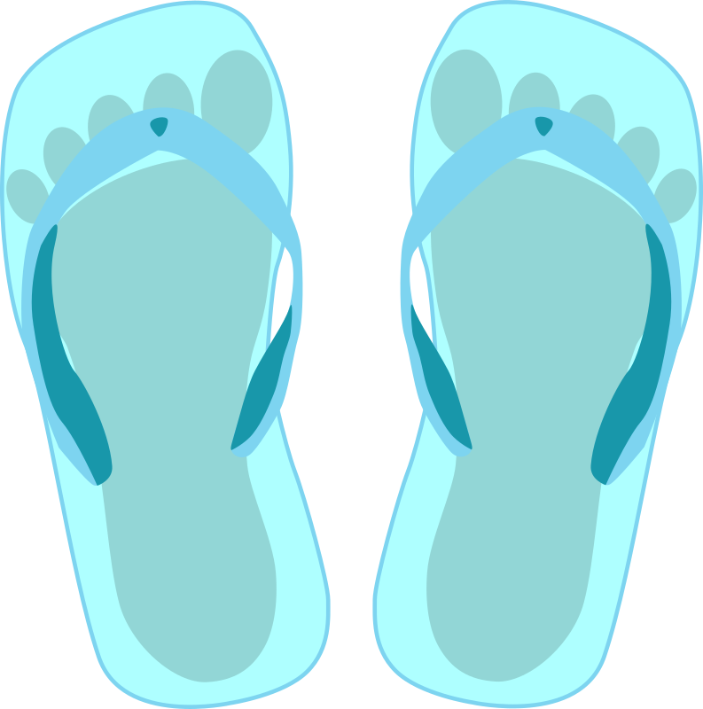 Thong light blue with footprint by palomaironique - Thong light blue with footprint - Thong bleus clairs avec empruntes de pieds - Thong hellblau mit Fußabdruck - Sandali blu chiaro con impronta di piede