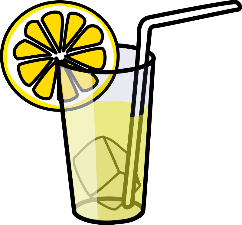 Lemonade glass by nicubunu - A glass with cold lemonade, ice, a straw and a lemon slice.
