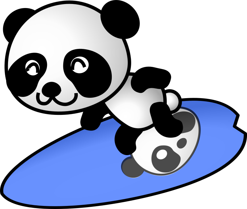 surfer panda by shu - surfing cartoon panda