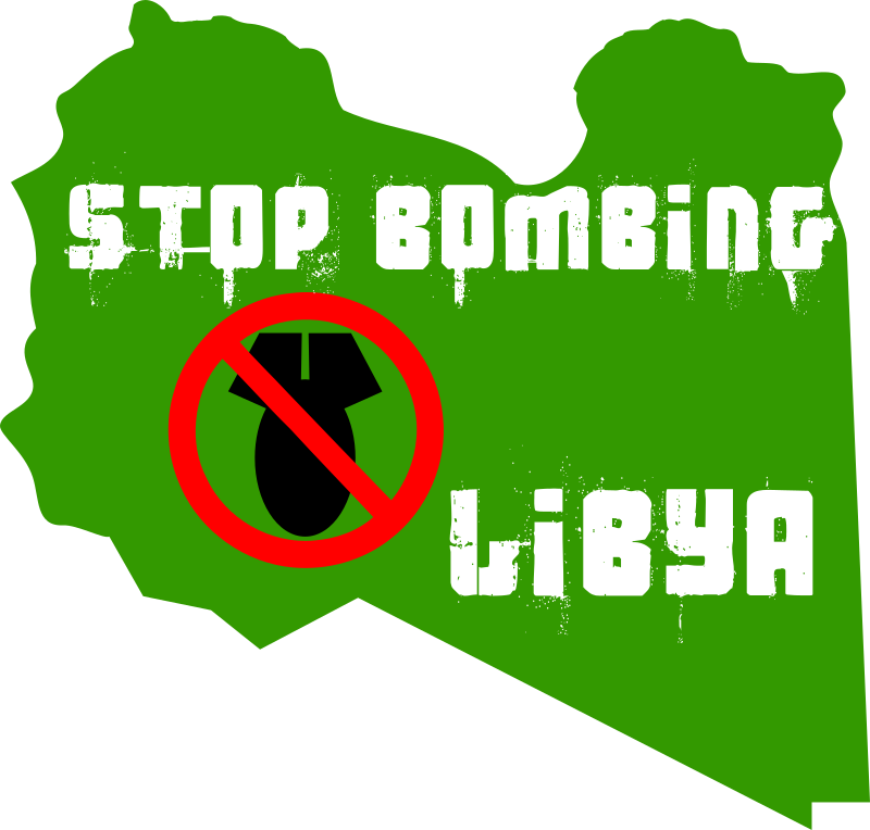 stop bombing libya by worker - sticker: stop bombing libya