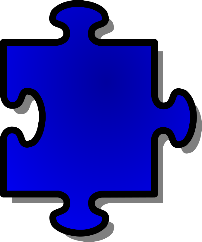Blue Jigsaw piece 05 by nicubunu - A Jigsaw puzzle piece (blue)