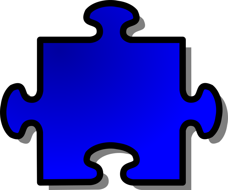 Blue Jigsaw piece 08 by nicubunu - A Jigsaw puzzle piece (blue)