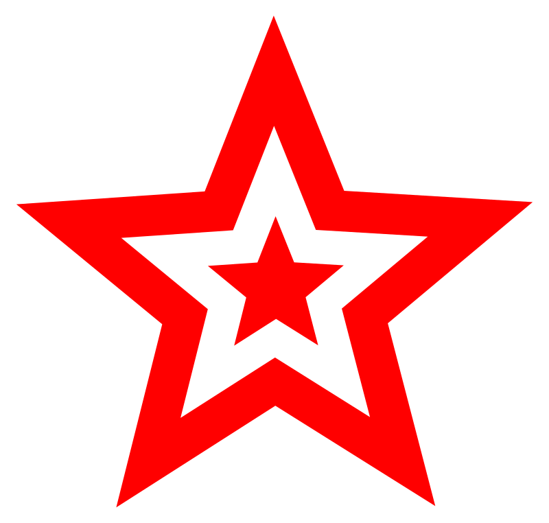 red star in star by worker - star