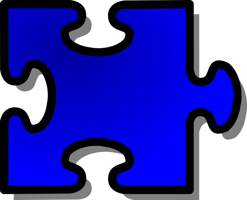 Blue Jigsaw piece 14 by nicubunu - A Jigsaw puzzle piece (blue)