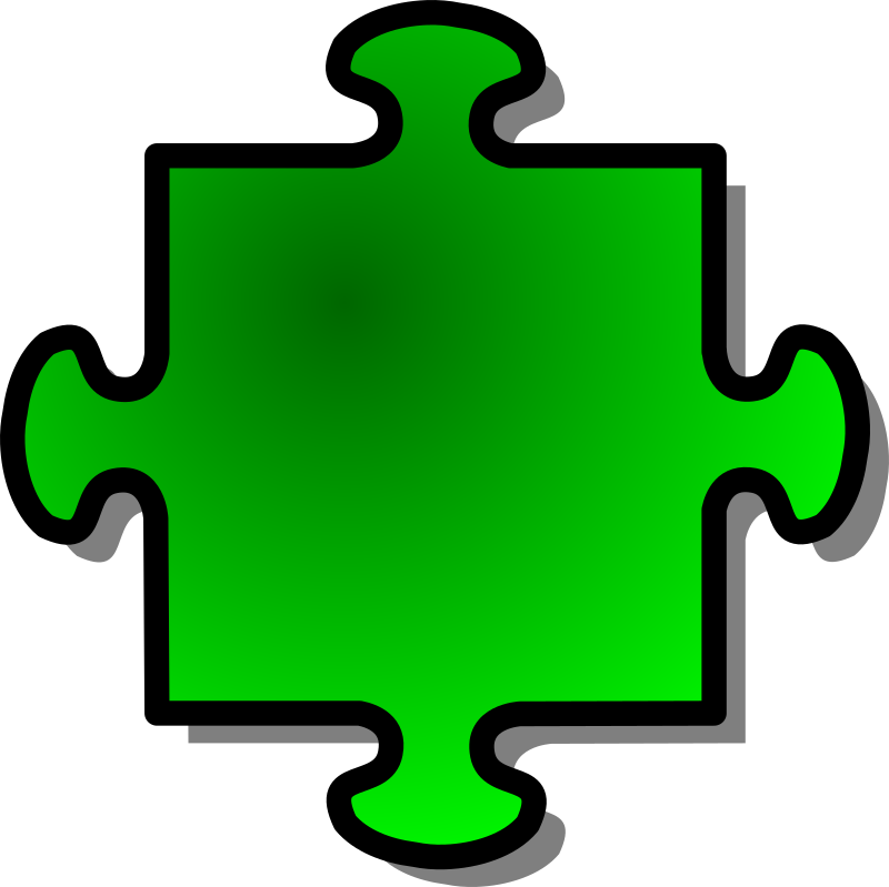 Clipart - Green Jigsaw piece 04
