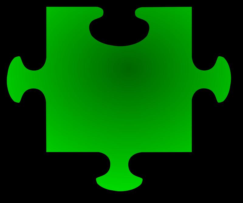 Clipart - Green Jigsaw piece 06
