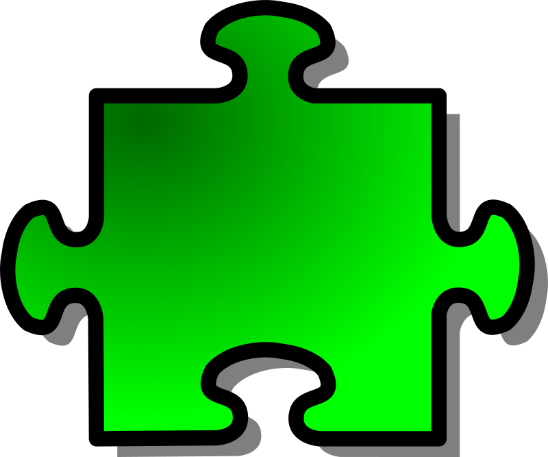 Green Jigsaw piece 08 by nicubunu - A Jigsaw puzzle piece (green)