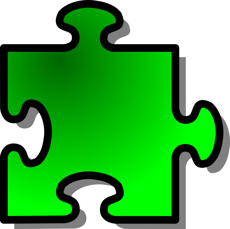 Green Jigsaw piece 09 by nicubunu - A Jigsaw puzzle piece (green)