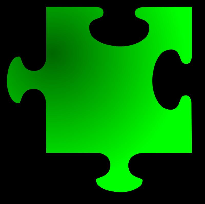 Clipart - Green Jigsaw piece 11