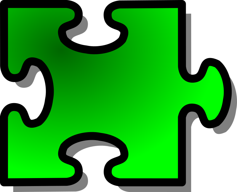 Green Jigsaw piece 14 by nicubunu - A Jigsaw puzzle piece (green)