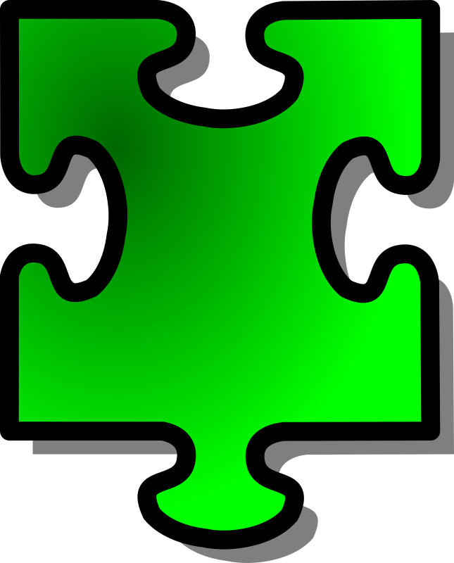 Green Jigsaw piece 15 by nicubunu - A Jigsaw puzzle piece (green)