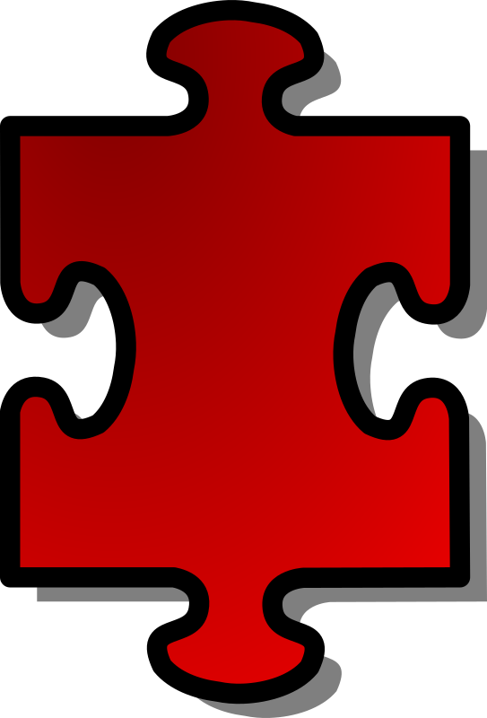 Red Jigsaw piece 01 by nicubunu - A Jigsaw puzzle piece (red)