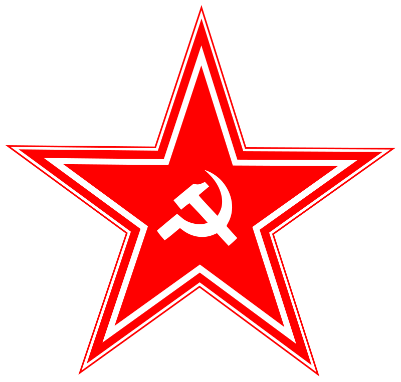 hammer and sickle in star by worker - human monkey