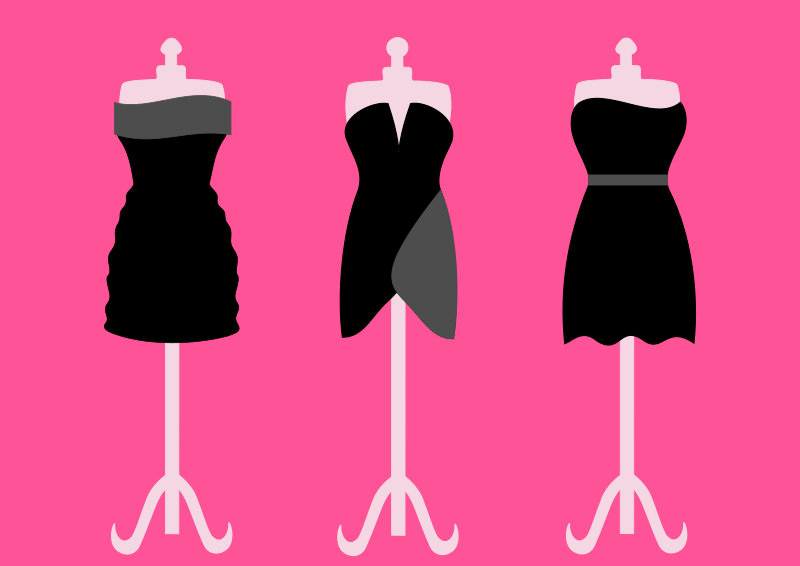 clipart three black dresses