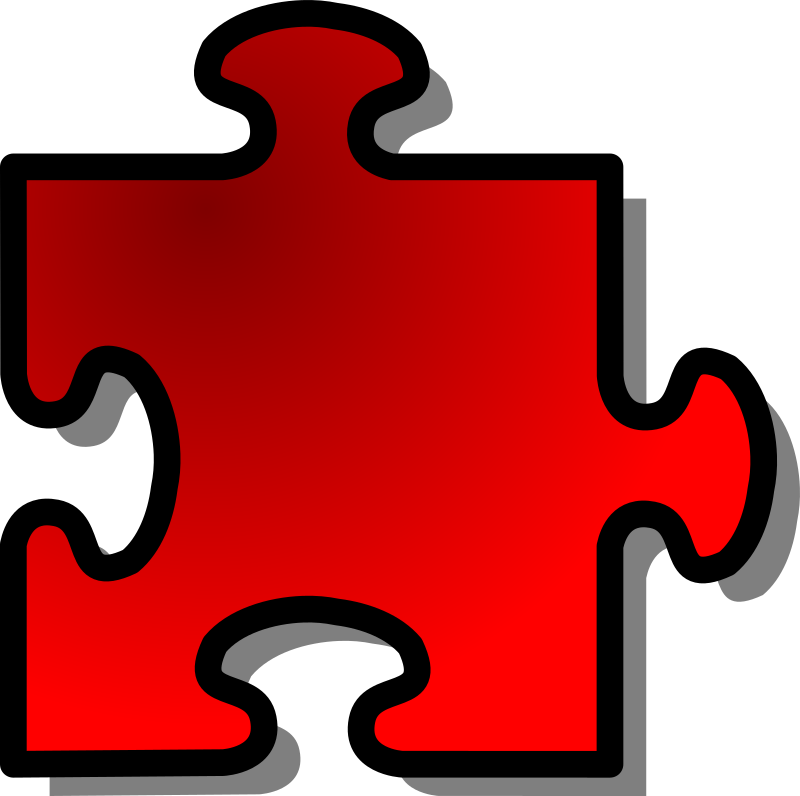 Red Jigsaw piece 09 by nicubunu - A Jigsaw puzzle piece (red)