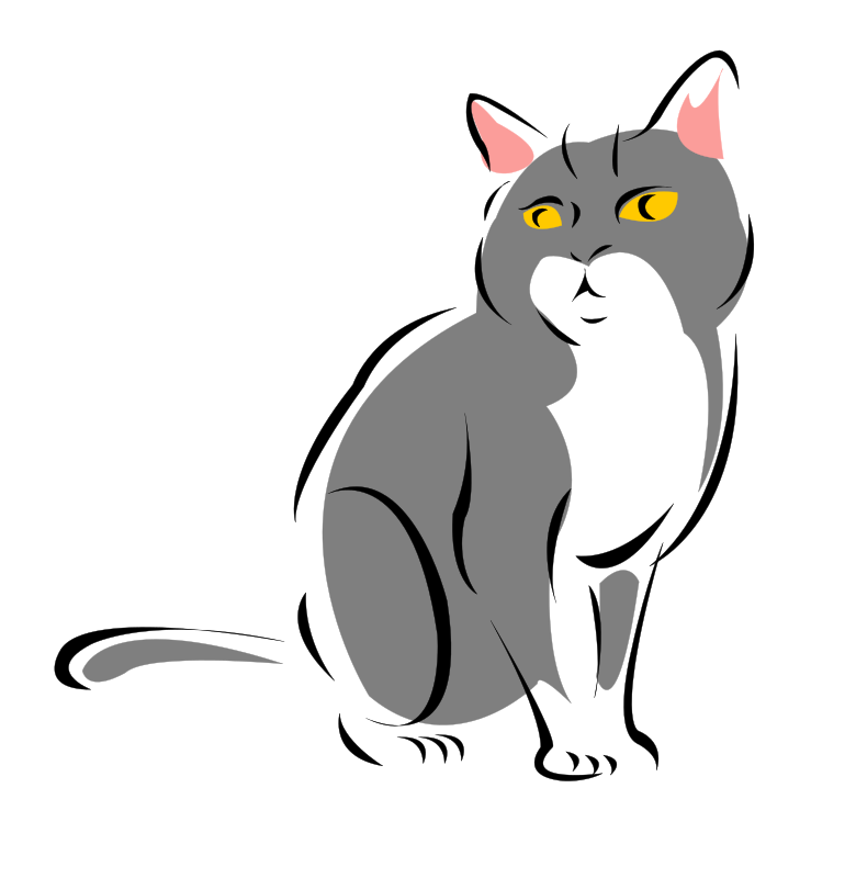 Grey cat by kattekrab - based on Stylised Grey Cat - just needed a white background.