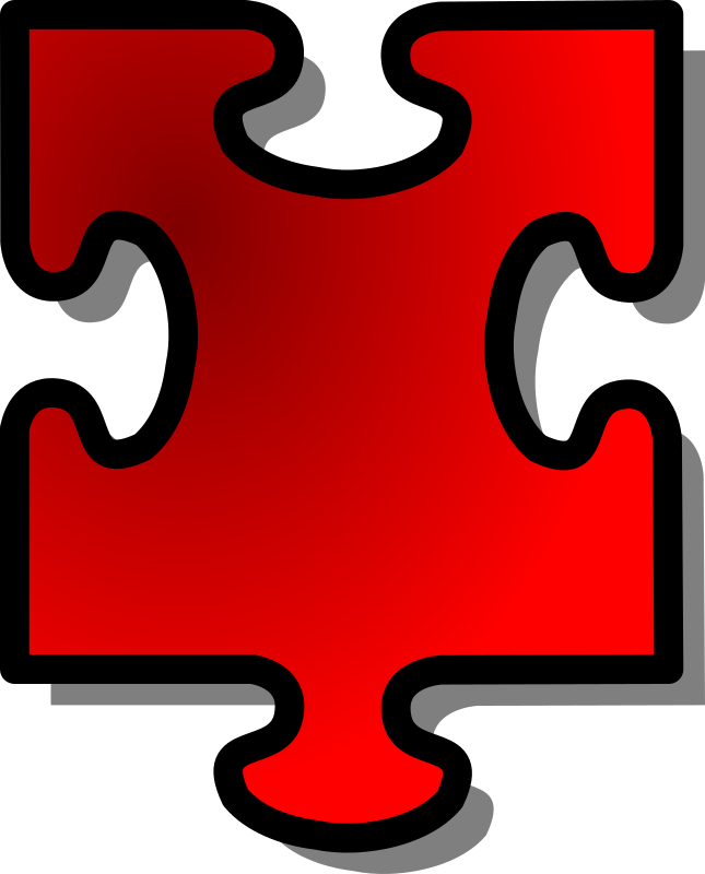 Red Jigsaw piece 15 by nicubunu - A Jigsaw puzzle piece (red)