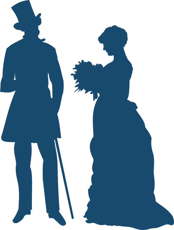 Old-fashioned couple by Moini - Silhouettes of a woman holding a bouquet and a man wearing old-fashioned clothes.