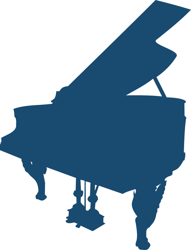 Piano by Moini - Silhouette of an old piano with elaborate decorations.