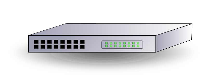 Network Switch by ARTMAN - Network switch with 16 ports, indicator lights, and drop shadow.