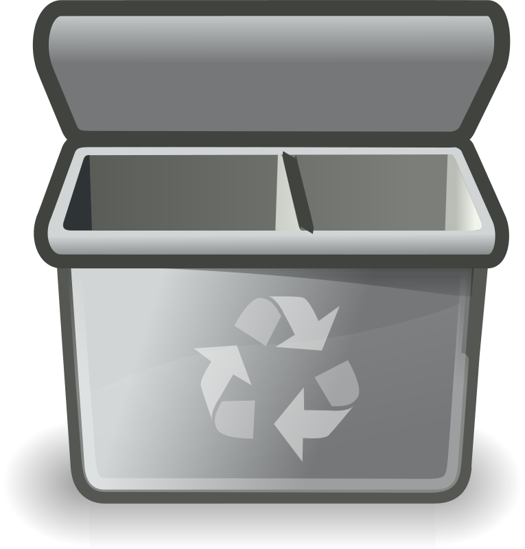Gray recycle bin by b.gaultier - An recycle bin clipart influenced by Tango project guidelines