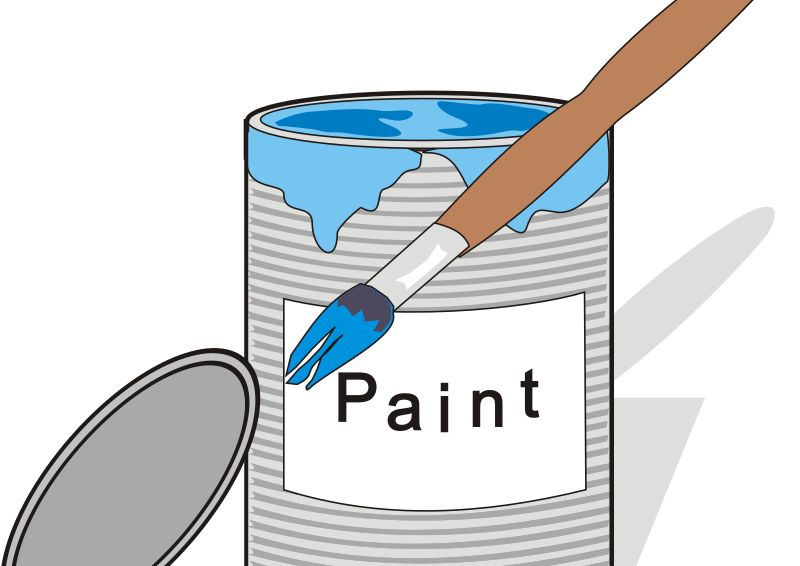 Paint tin can and brush 1 by aidiagre - blue paint and a brush and a can
