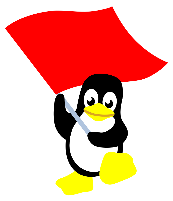 commie tux by worker - tux with red flag