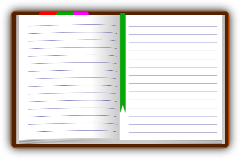 Diary (open) by gsagri04 - illustration of diary drawn using Inkscape